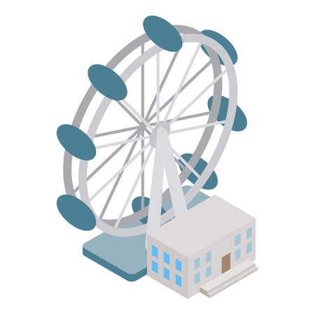 ferris wheel icon, isometric style