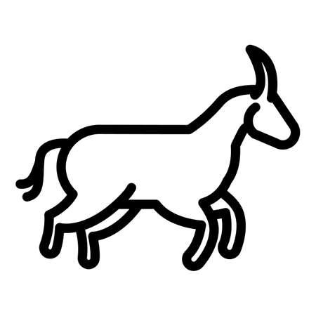 Running wildebeest icon, outline style Illustration