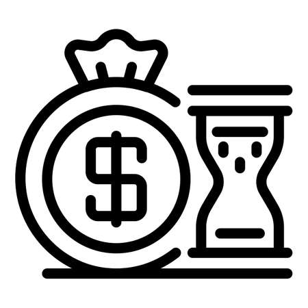 Money coin bag hourglass icon, outline style
