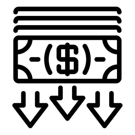 Crisis cash money icon, outline style