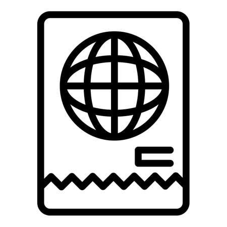 Immigrant white passport icon, outline style