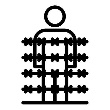 Immigrant behind wire spike icon, outline style