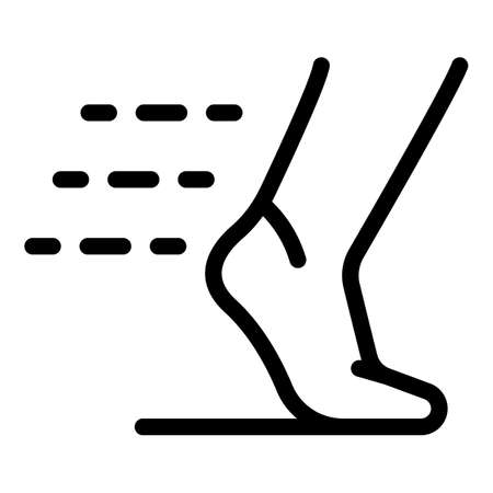 Running foot icon, outline style 矢量图像