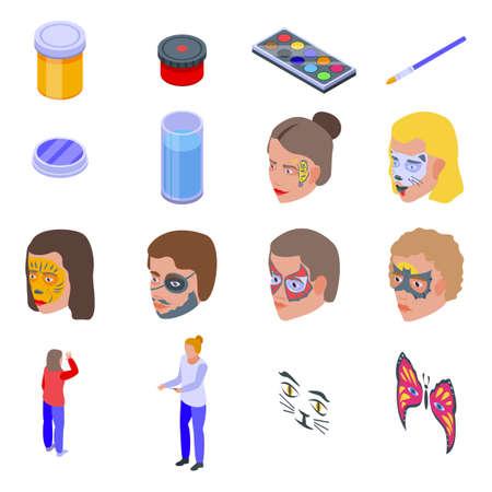 Face painting icons set, isometric style