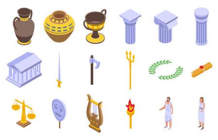Ancient Greece icons set, isometric style 일러스트
