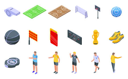 Referee icons set, isometric style Иллюстрация