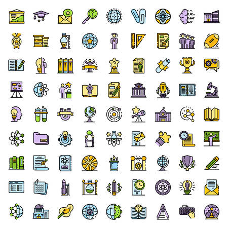 University icons vector flat Vecteurs