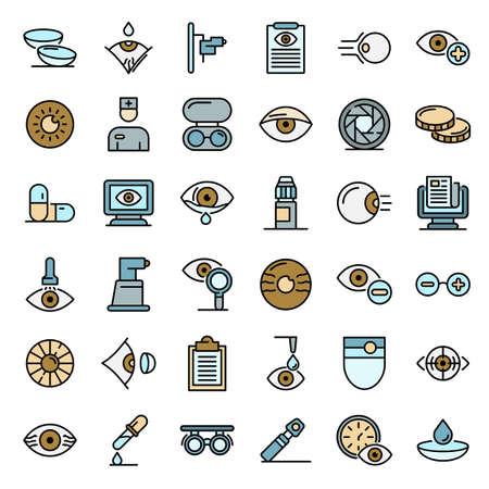 Eye examination icons vector flat