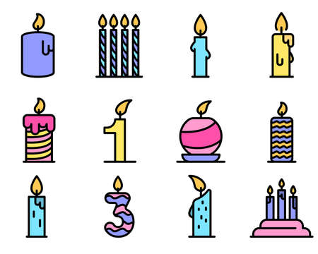 Birthday candle icons vector flat