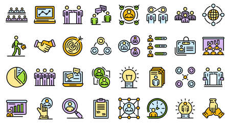 Collaboration icons vector flat