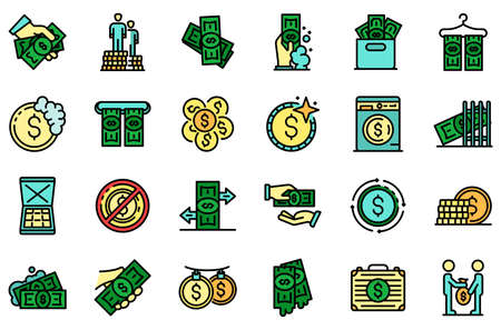 Money laundering icons vector flat Illustration