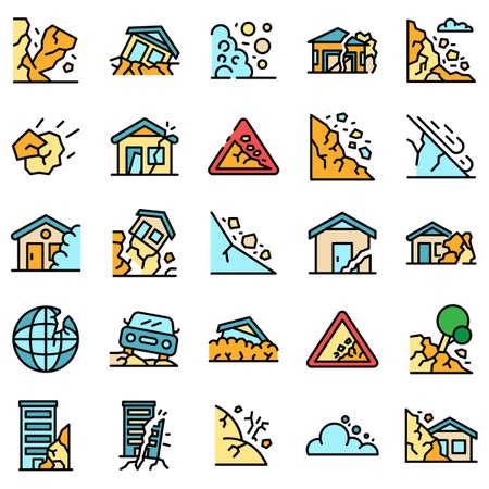 Landslide icons vector flat