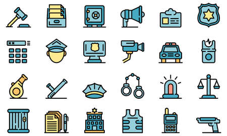Police station icons vector flat