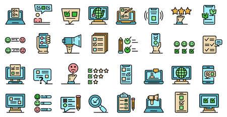 Online survey icons vector flat