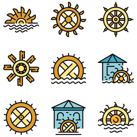 Water mill icons vector flat