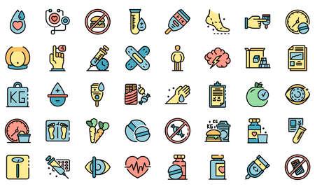 Diabetes icons vector flat