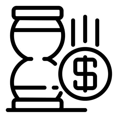 Hourglass money trade icon, outline style