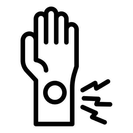 Hand sport injury icon, outline style Vecteurs