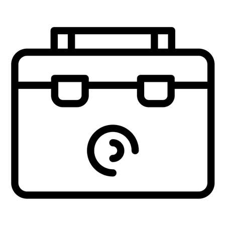 Steel tool box icon, outline style