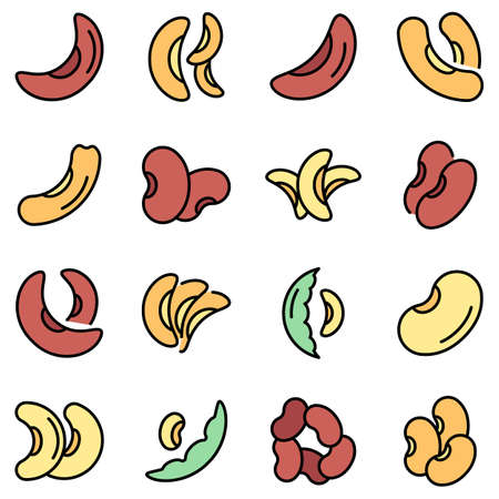 Kidney bean icons set vector flat