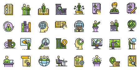 Internship icons set vector flat Иллюстрация