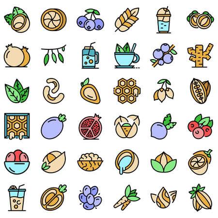 Superfood icons set vector flat Illustration