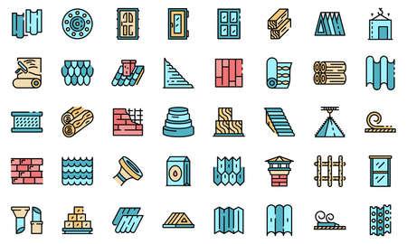 Construction materials icons set vector flat