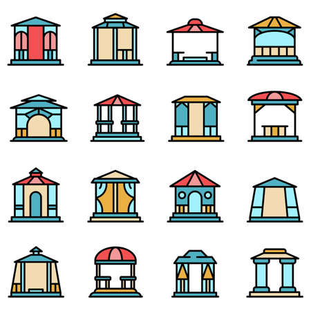 Gazebo icons set vector flat