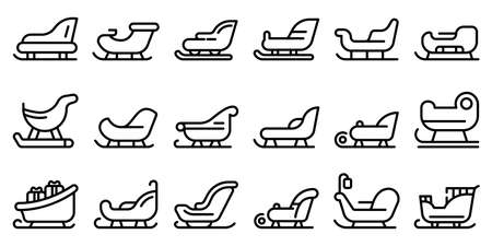 Sleigh icons set, outline style Illustration