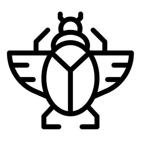 Scarab icon, outline style Illusztráció