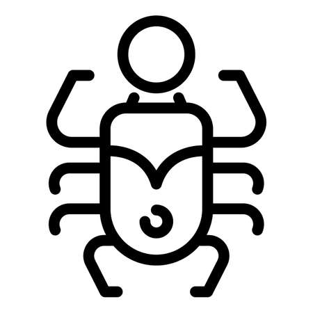 Amulet scarab beetle icon, outline style