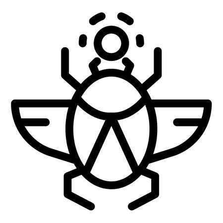 Scarab beetle icon, outline style Illusztráció