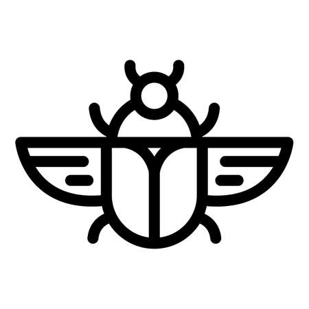 Flying scarab beetle icon, outline style 向量圖像