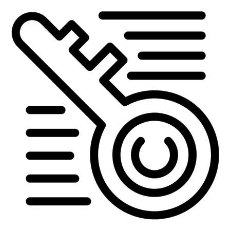 Key personal information icon, outline style