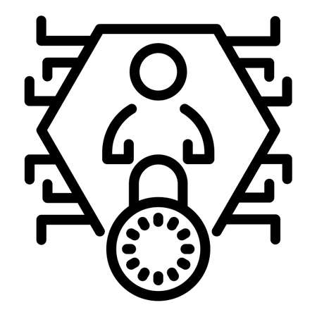 Digital secured personal information icon, outline style Vectores