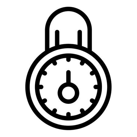 Steel padlock personal information icon, outline style