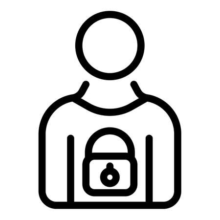 Secured personal information icon, outline style
