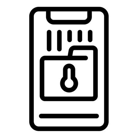 Secured smartphone folder icon, outline style