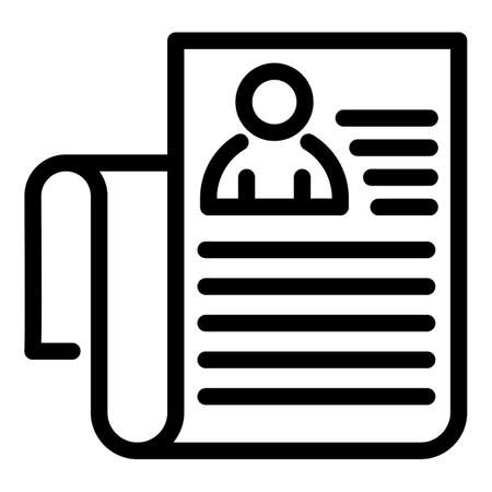 Personal data sheet icon, outline style