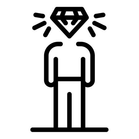 Diamond personal traits icon, outline style