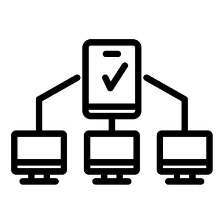 Multi-factor authentication icon, outline style