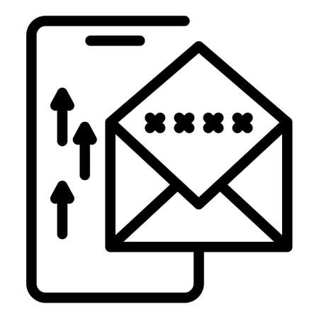 Web mail safe authentication icon, outline style