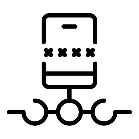 Smartphone authentication icon, outline style