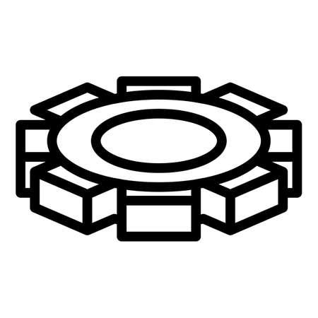 Metallurgy cog wheel icon, outline style