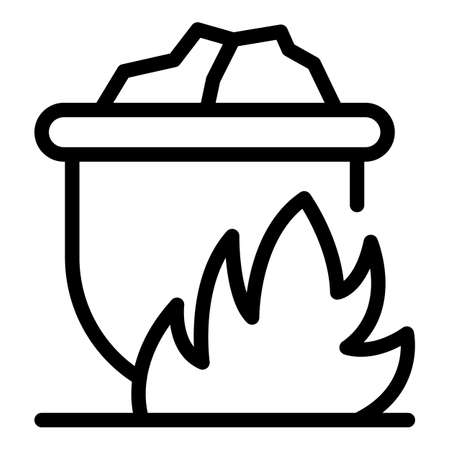 Metallurgy on fire pot icon, outline style