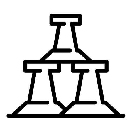 Metallurgy road block icon, outline style Illustration