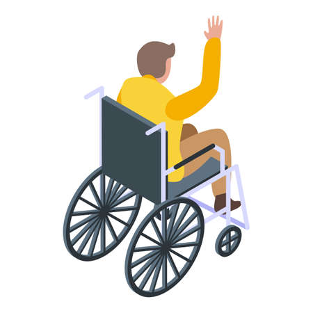 Inclusive education wheelchair boy icon, isometric style