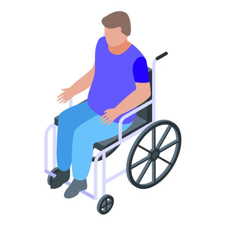Education wheelchair boy icon, isometric style