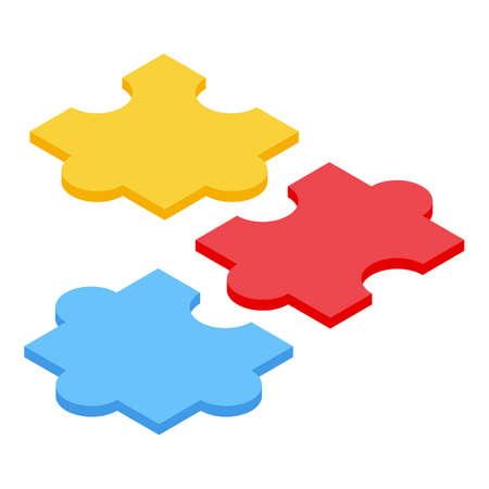 Inclusive education puzzle icon, isometric style Vecteurs