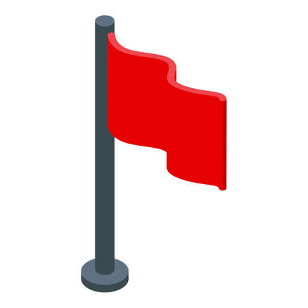 Red flag breakthrough icon, isometric style